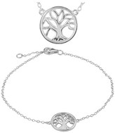 Journee Collection Women's Tree of Life Necklace and Bracelet Set in Sterling Silver - Silver