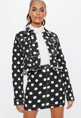 Missguided Black Denim Polka Dot Frill Hem Co-Ord Jacket