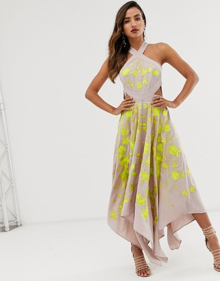 Asos Edition EDITION embroidered midi dress with cut out sides-Beige