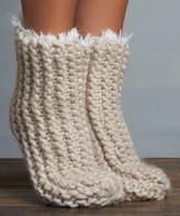 Lemon Legwear Women's Socks Moonbeam - Moonbeam Cable-Knit Slipper Socks - Women