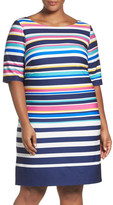 Eliza J Stripe Crepe Sheath Dress (Plus Size)
