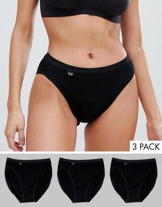Sloggi Tai High Leg Cotton 3 pack brief in black