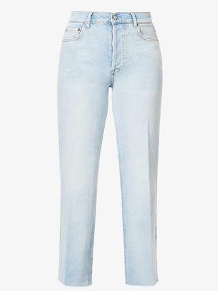 Boyish Mikey Raw Hem Straight Leg Jean in Blue