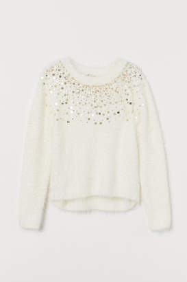 H&M Fluffy Sweater with Sequins - White