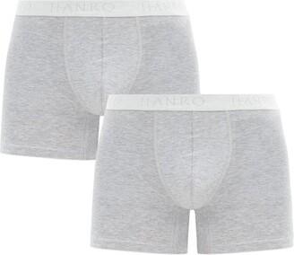 Hanro Pack Of Two Essentials Cotton-blend Boxer Briefs - Grey