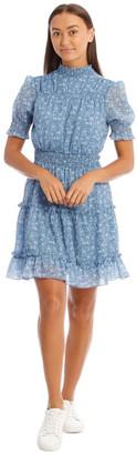 Miss Shop Blue Ditsy High Neck Dress