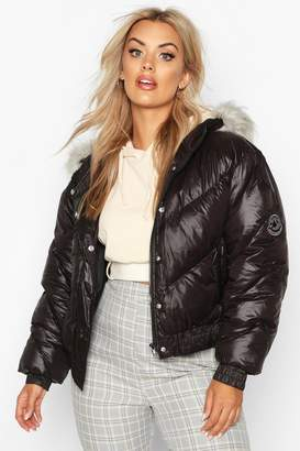 boohoo Plus Badge Faux Fur Trim Hooded Parka Puffer
