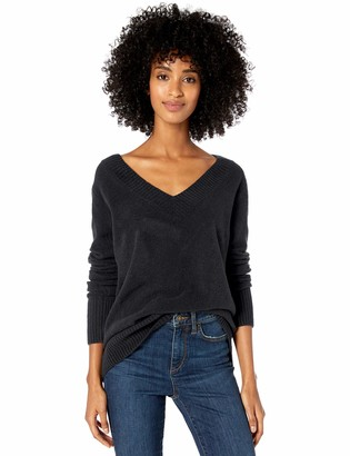 Goodthreads Amazon Brand Women's Relaxed Fit Mid-Gauge Stretch V-Neck Sweater