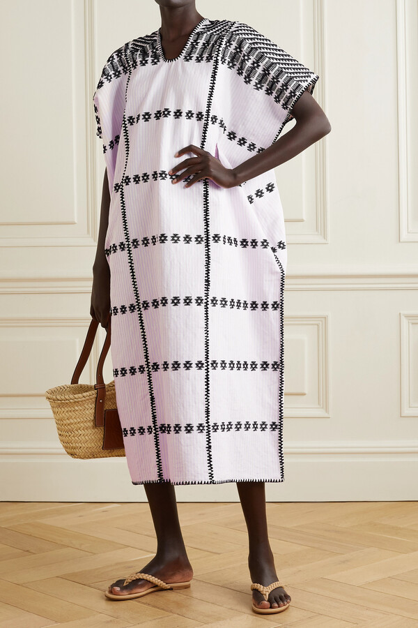 Thumbnail for your product : Pippa + Net Sustain Embroidered Striped Cotton Huipil - Pink