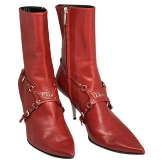 Christian Dior Red Leather Ankle boots