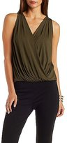 Charlotte Russe Pleated Wrap Tank Top