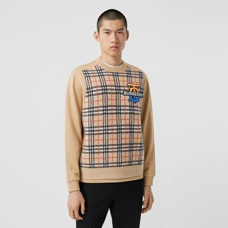 Burberry Monogram Motif Check Cahmere Panel weathirt