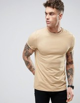 Asos Muscle T-Shirt In Beige With Roll Sleeve