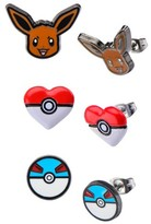 Pokemon Eevee, Poké Ball Heart Shape and Great Ball Stainless Steel Stud Earrings Set