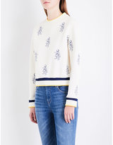 Maje Tentation tiger-embroidered jersey sweatshirt
