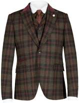 Gibson Men's Green and Burgundy Check Jacket
