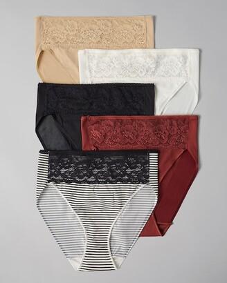 Soma Intimates Microfiber w/Lace High Leg 5 Pack