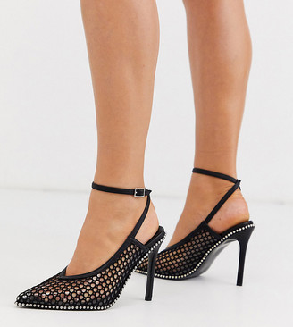 Asos Design DESIGN Wide Fit Permission pointed high heels with studs in black