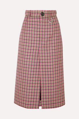 Balenciaga Checked Wool Midi Skirt - Pink