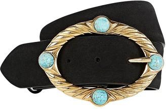 Alberta Ferretti Embellished Buckle Suede Belt