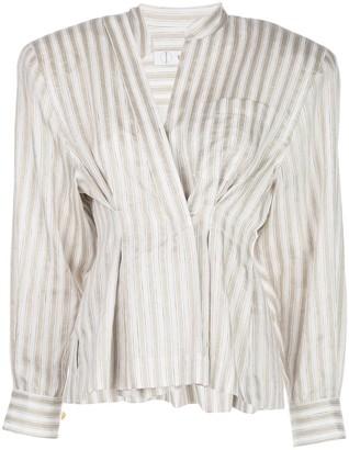 TRE by Natalie Ratabesi Darted Striped Shirt