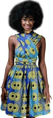 IMEKIS Women African Print Dress Dashiki Cocktail Evening Dress Multiway Wrap Bandage Party Gown A Line Flared Skirt Traditional Vintage Ethnic Boho Summer Dress Yellow UK 14