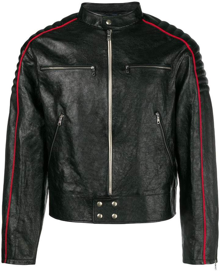 Gucci Print leather jacket