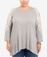 Eyeshadow Trendy Plus Size Crochet-Trim Top