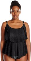 24th & Ocean Women's Plus-Size Connect The Dots Crochet Tiered Tankini Top