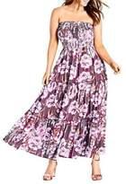 City Chic Plus Arthouse Floral Maxi Dress