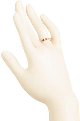 14k Gold Diamond And Multicolor Sapphire Band Ring