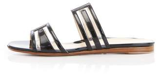 Marion Parke Jojo   Patent Vinyl Flat Slide Sandal With Geometric Design