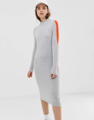 Asos Design DESIGN high neck midi dress with tipping-Grey