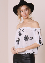 Missy Empire Alessandra White Floral Embroided Bardot Top