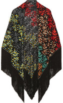 Missoni Fringed Embroidered Crochet-knit Wrap - Black