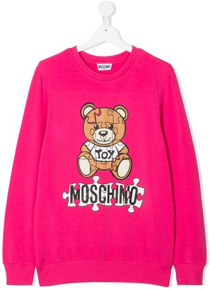 MOSCHINO BAMBINO TEEN jigsaw teddy bear sweatshirt