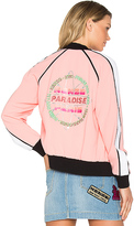 Kenzo Crepe Back Satin Bomber Jacket in Pink