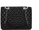 Chanel classic lambskin black (ancient silver chain) portable shoulder bag