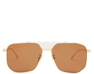Bottega Veneta Angular Aviator Metal Sunglasses - Womens - Brown Gold
