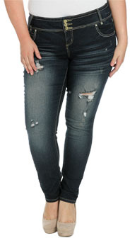 Wet Seal WetSeal 3 Button Skinny Jean Med Wash
