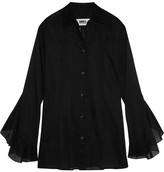 MM6 MAISON MARGIELA Ruffled Pintucked Cotton-voile Shirt - Black