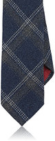 Luciano Barbera Men's Windowpane-Plaid Woven Wool Necktie-NAVY