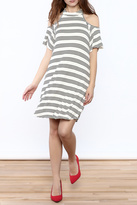 Peach Love California Striped Cold Sholder Dress