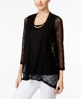 JM Collection Petite Layered-Look Lace Top, Only at Macy's