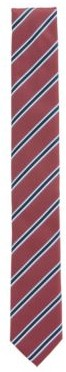 HUGO BOSS Italian Made Striped Tie In Recycled Fabric - Dark pink