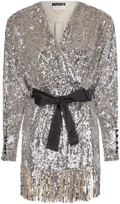 Rotate by Birger Christensen Samantha Sequin Fringe Mini Wrap Dress