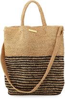 Vix Striped Woven Straw Beach Tote Bag, Beige