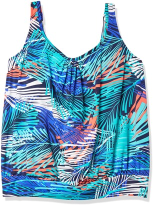 Shape Solver Women's Swimsuit Fresh Breeze Shirred Neck Blouson Tankini