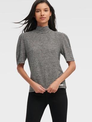 DKNY Women's Mock Neck Striped Hacci Sweater - Black Grey - Size XX-Small