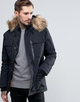 Schott Thunder Hooded Parka Detachable Faux Fur Trim